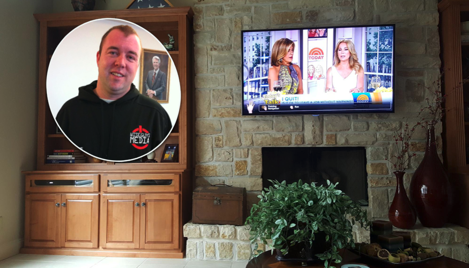 Travis Lemon installs wall-mounted TVs and home theater systems, among other things.