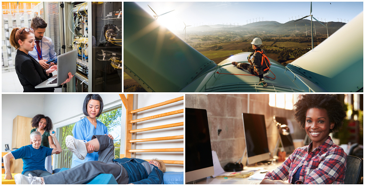 4 photos representing some of the fastest-growing jobs in America