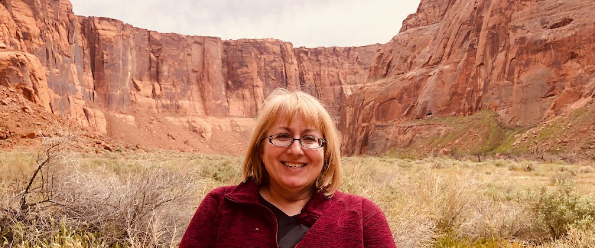 Medical sonographer Rebecca Burton on vacation at the Grand Canyon