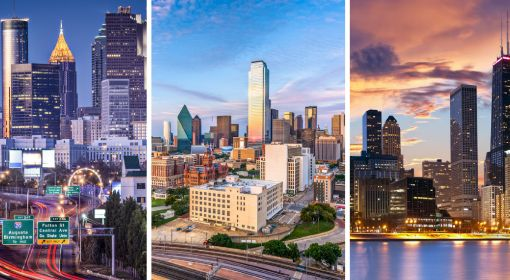 City skylines, representing cities with booming skills-based economies