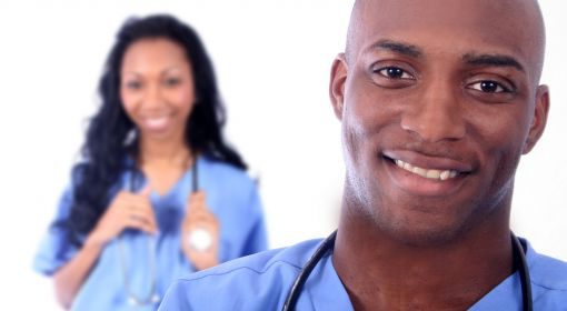 Two healthcare practitioners with stethoscopes