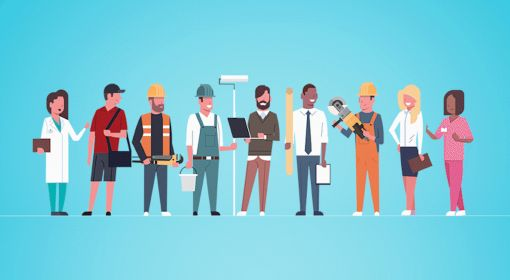 Illustration of many different job types, take a skill-based assessment quiz