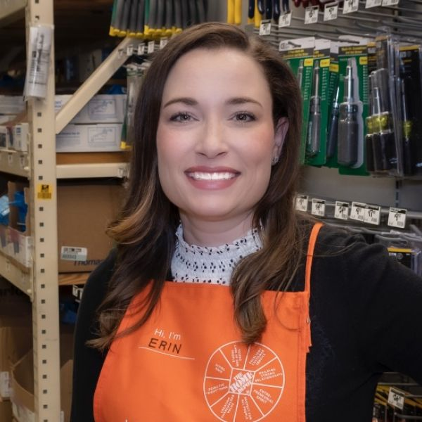 Erin Izen at Home Depot store with apron